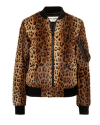 Giubbotto bomber leopardato marrone di Saint Laurent