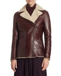 Giubbotto di shearling bordeaux