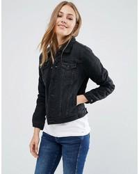 Giubbotto di shearling di jeans blu scuro di Pepe Jeans