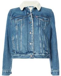 Giubbotto di shearling di jeans blu di Levi's