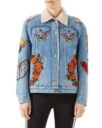 Giubbotto in shearling di jeans azzurro