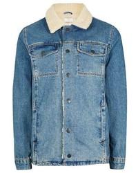 Giubbotto in shearling di jeans blu