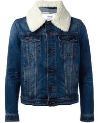 Giubbotto in shearling di jeans blu di AMI Alexandre Mattiussi