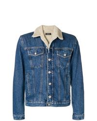 Giubbotto in shearling di jeans blu di Diesel