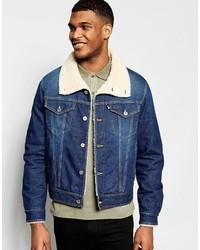 Giubbotto in shearling di jeans blu di Love Moschino