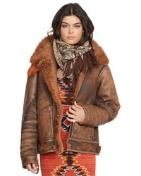 Giubbotto di shearling marrone