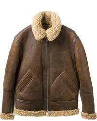Giubbotto in shearling marrone