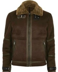 Giubbotto in shearling marrone scuro