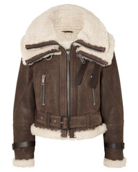 Giubbotto in shearling marrone di Burberry