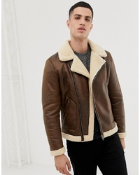Giubbotto in shearling marrone di ONLY & SONS