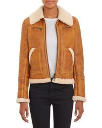Giubbotto in shearling terracotta