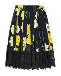 Gonna a pieghe a fiori nera di Dolce & Gabbana