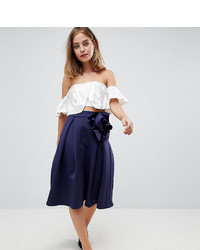 Gonna a ruota blu scuro di Asos Petite
