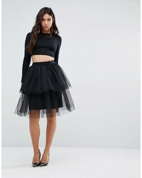 Gonna a ruota in tulle nera di Boohoo
