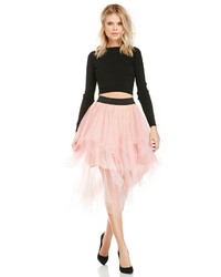 Gonna a ruota in tulle rosa
