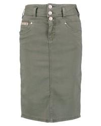 Gonna a tubino di jeans verde oliva di Herrlicher