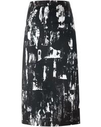 Gonna a tubino stampata nera e bianca di McQ by Alexander McQueen