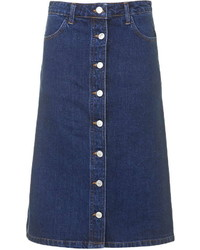 Gonna con bottoni di jeans blu scuro