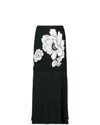 Gonna longuette a fiori nera di Boutique Moschino
