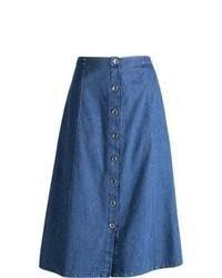 Gonna longuette di jeans blu