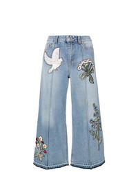 Gonna pantalone ricamata azzurra di Alexander McQueen