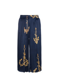 Gonna pantalone stampata blu scuro