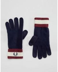 Guanti di lana blu scuro di Fred Perry