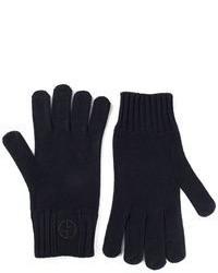 Guanti di lana blu scuro di Giorgio Armani