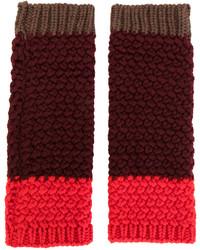 Guanti di lana lavorati a maglia bordeaux di Etro