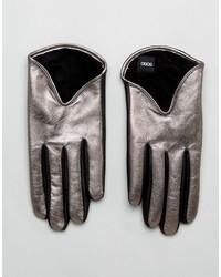Guanti in pelle argento di Asos