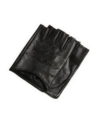 Guanti in pelle neri di Karl Lagerfeld