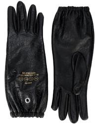 Guanti in pelle stampati neri di Balenciaga