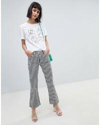 Jeans a campana a righe verticali neri e bianchi di Mango