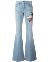 Jeans a campana azzurri di Gucci