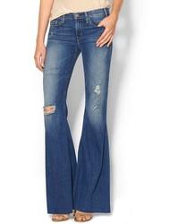 Jeans a campana strappati blu