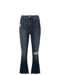 Jeans a campana strappati blu scuro di Mother