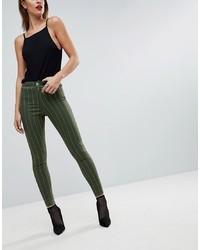Jeans aderenti a righe verticali verde scuro di ASOS DESIGN