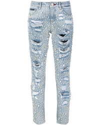 Jeans aderenti decorati azzurri