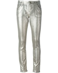 Jeans aderenti di cotone argento di Roberto Cavalli