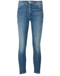 Jeans aderenti di cotone blu di Mother