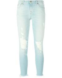 Jeans aderenti di cotone strappati azzurri di 7 For All Mankind