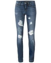 Jeans aderenti di cotone strappati blu di Dolce & Gabbana