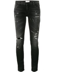 Jeans aderenti di cotone strappati neri di Faith Connexion