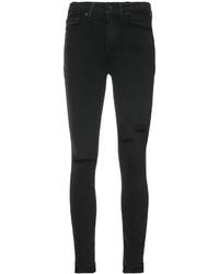 Jeans aderenti di cotone strappati neri di Paige