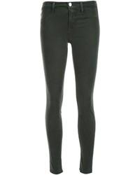 Jeans aderenti di cotone verde scuro di J Brand