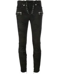 Jeans aderenti di cotone verde scuro