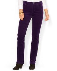 Jeans aderenti di velluto a coste melanzana scuro