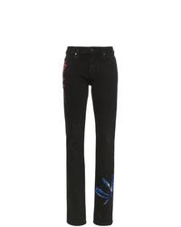 Jeans aderenti effetto tie-dye neri