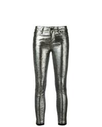 Jeans aderenti in pelle argento di RtA