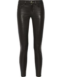 Jeans aderenti in pelle neri